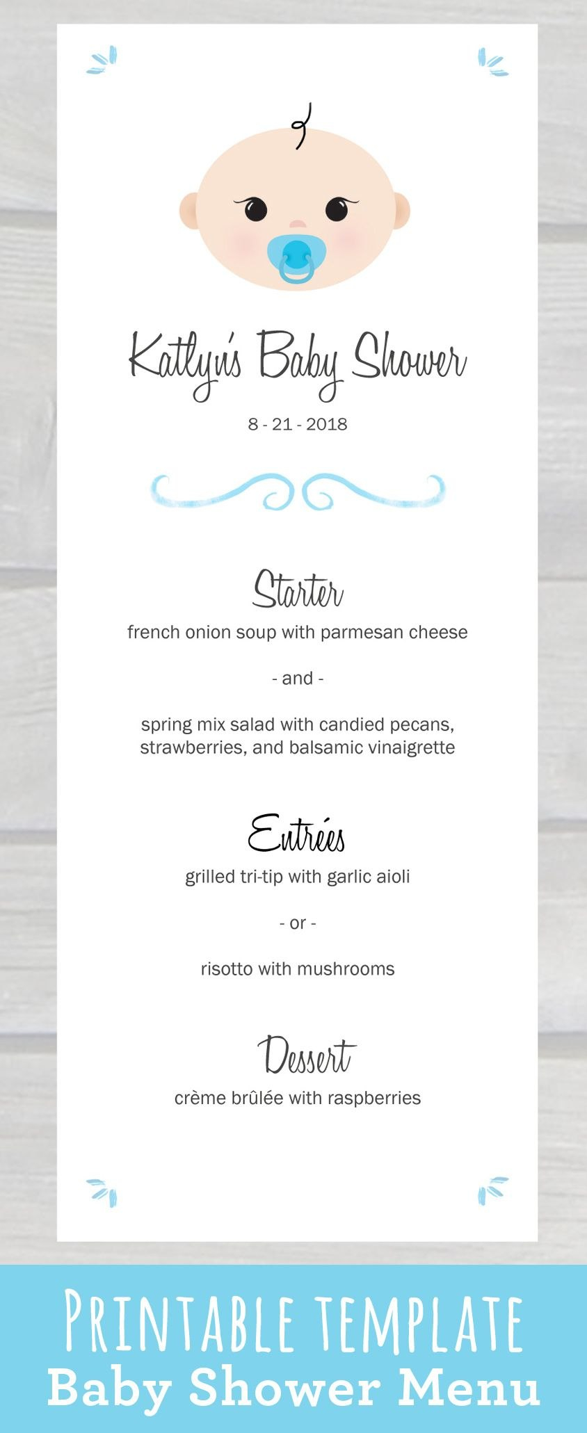 Use This Cute Baby Shower Menu Template Pdf To Edit  Print Your Own Throughout Editable Menu Templates Free