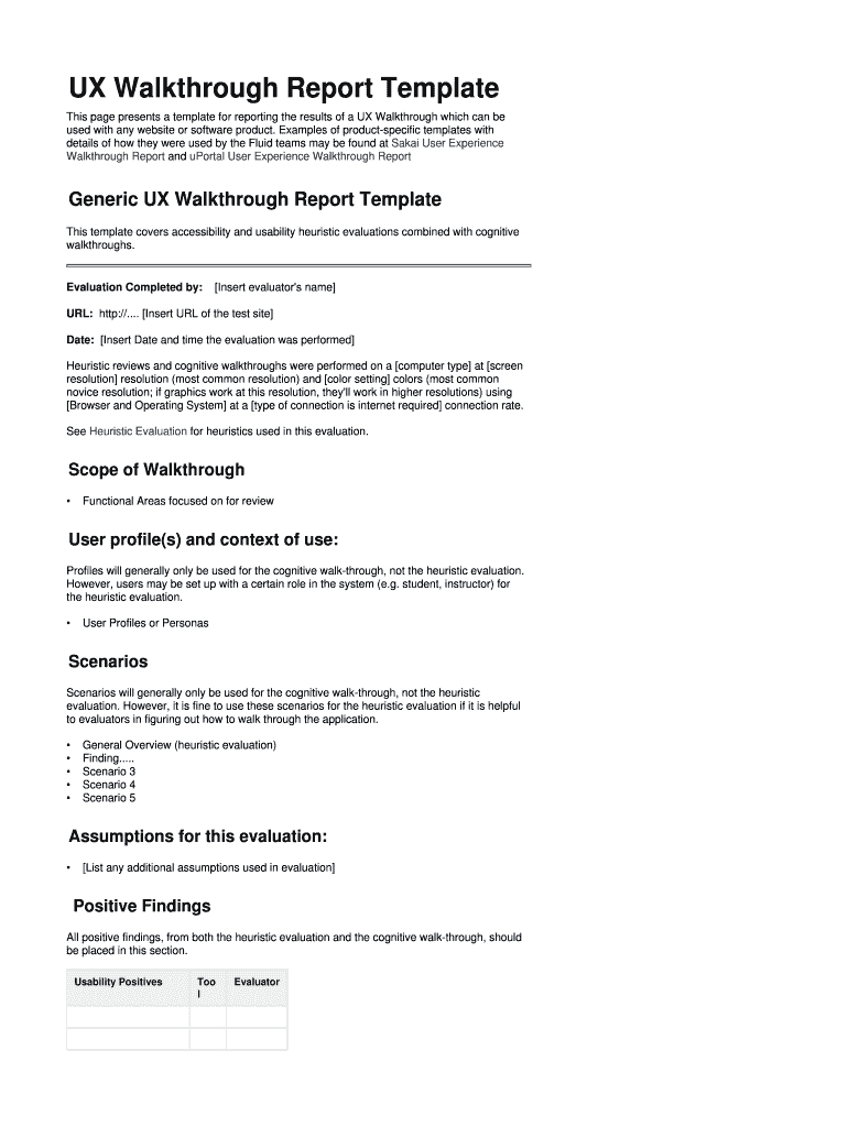 Ux Walkthrough Report Template Fill Online Printable Fillable With Regard To Website Evaluation Report Template