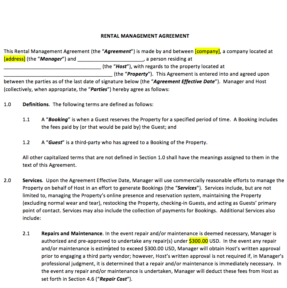 Vacation Rental Property Management Contract Template In Vacation Rental Lease Agreement Template