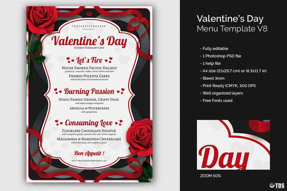 Valentines Day Menu Template Vthats Design Store Inside Free Valentine Menu Templates