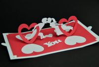 Valentine's Day Pop Up Card Twisting Heart  Creative Pop Up Cards within Twisting Hearts Pop Up Card Template