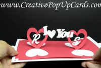 Valentines Day Pop Up Card Twisting Hearts  Youtube throughout Twisting Hearts Pop Up Card Template