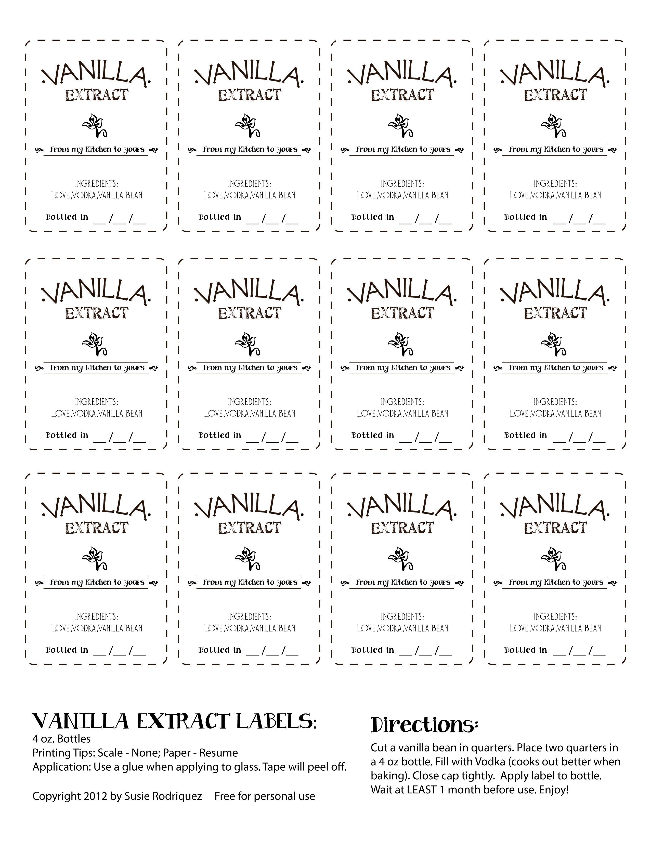 Vanilla Extract Labels Free For Personal Use  Crafty Crafty Regarding Homemade Vanilla Extract Label Template