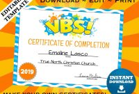 Vbs Vacation Bible School Certificate Of Completion Editable  Etsy for Vbs Certificate Template