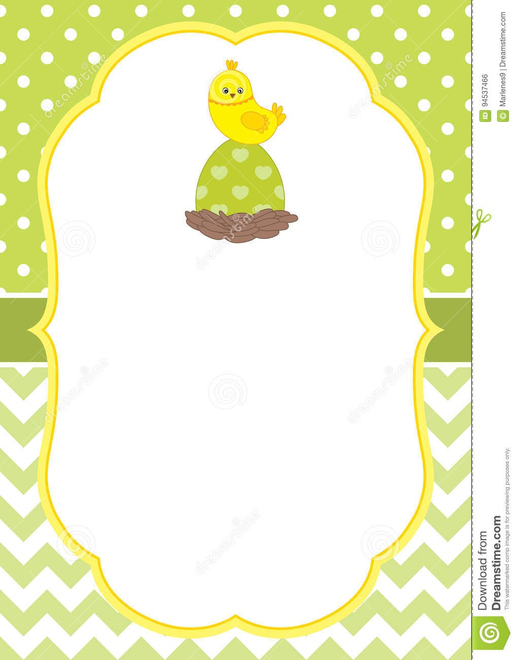 Vector Card Template With A Cute Chick On Polka Dot And Chevron For Easter Chick Card Template