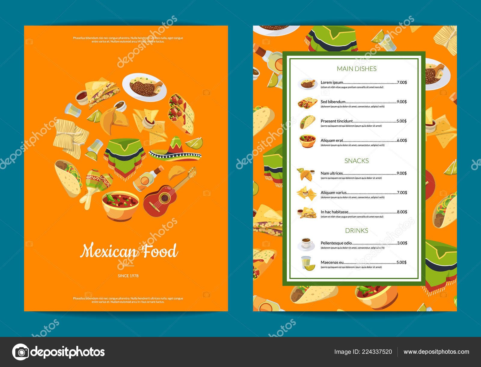 Vector Cartoon Mexican Food Cafe Or Restaurant Menu Template With Regard To Mexican Menu Template Free Download