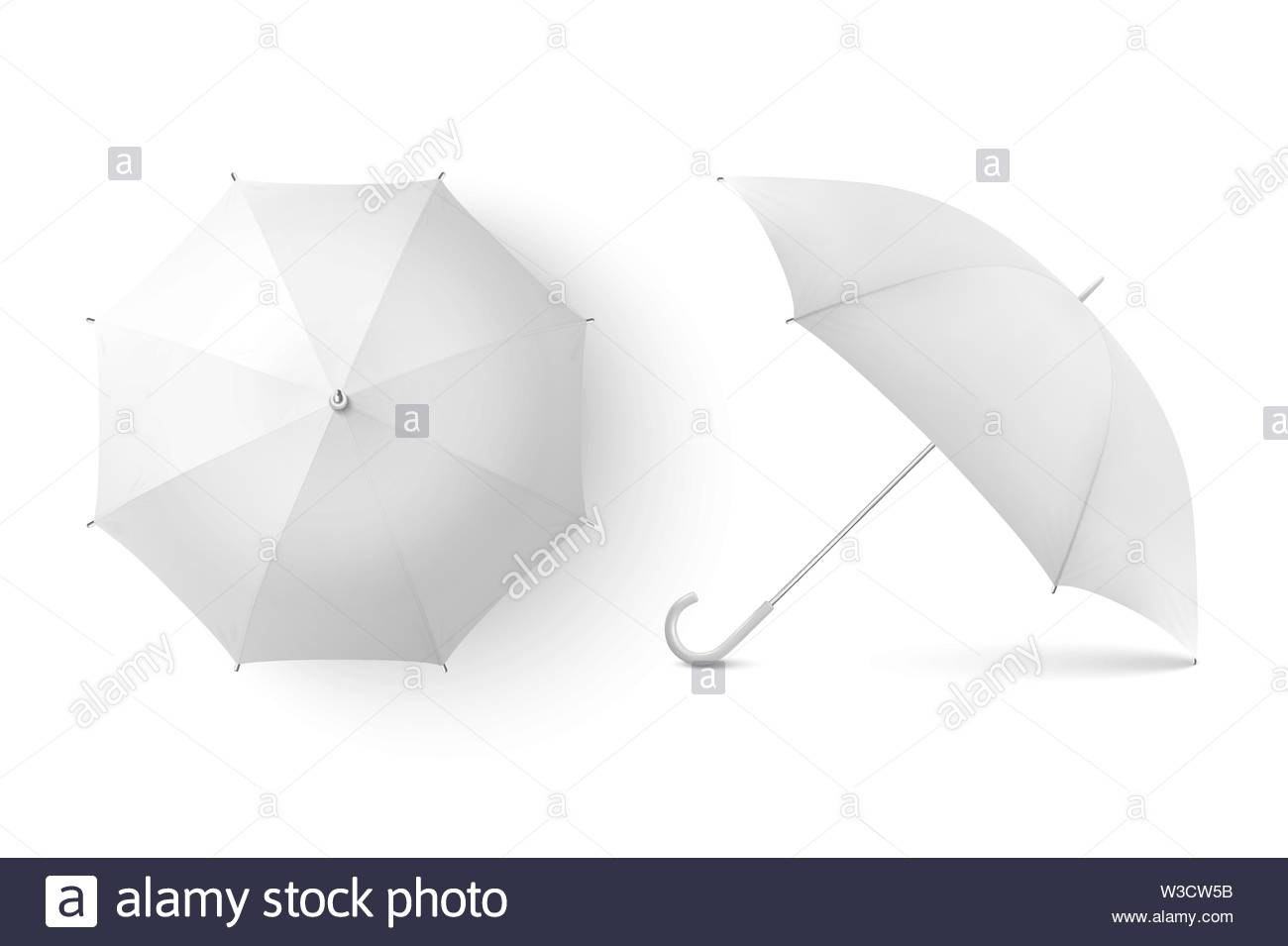 Vector D Realistic Render White Blank Umbrella Icon Set Closeup Throughout Blank Umbrella Template