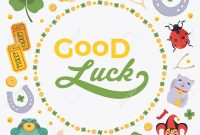Vector Decorating Design Made Of Lucky Charms And The Words intended for Good Luck Card Template