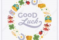 Vector Decorating Design Made Of Lucky Charms And The Words regarding Good Luck Card Template