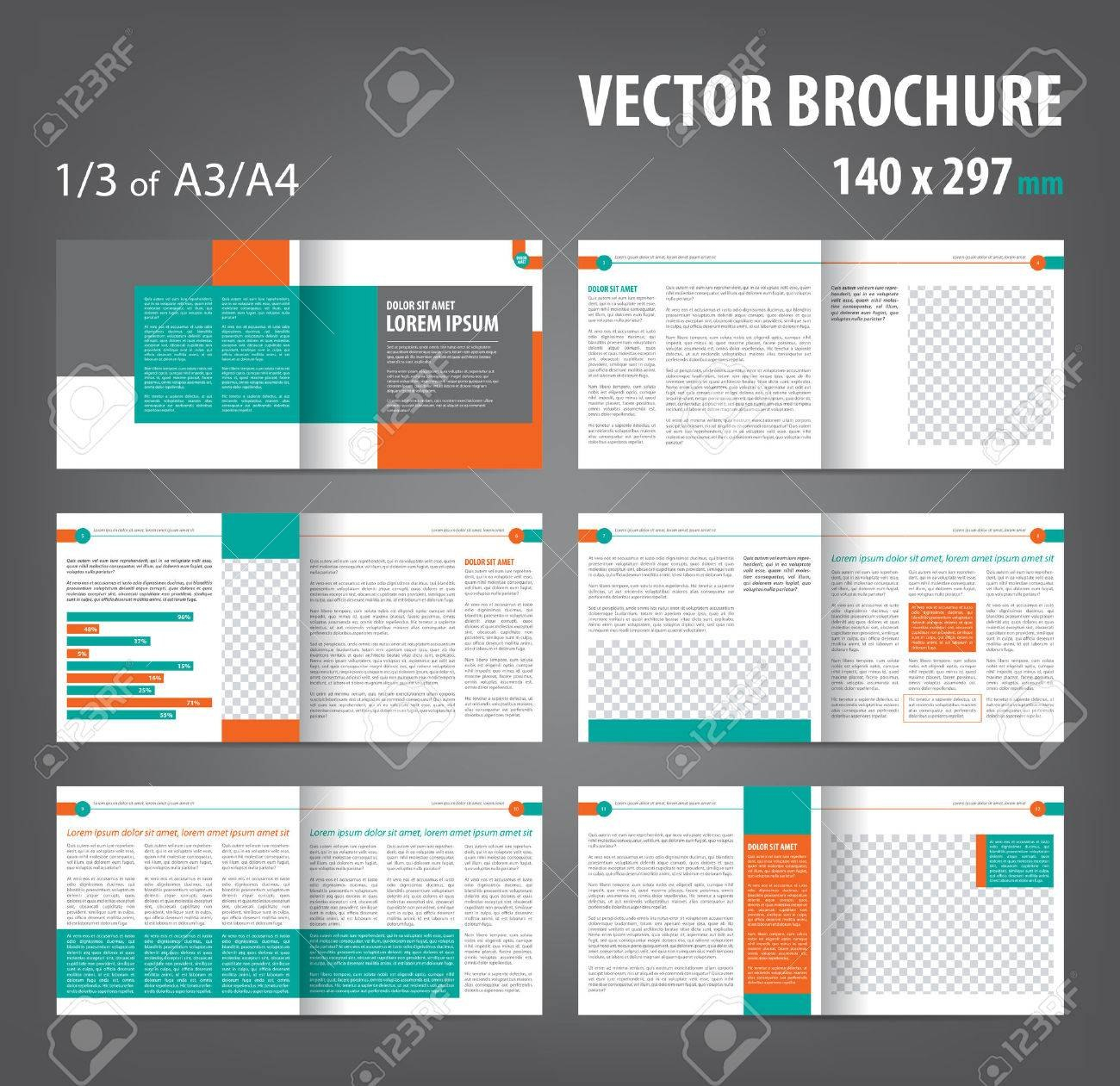 Vector Empty Bifold Brochure Print Template Design Bifold Bright With Regard To 12 Page Brochure Template