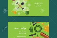 Vector Flat Gardening Icons Business Card Template For Farm And with Gardening Business Cards Templates