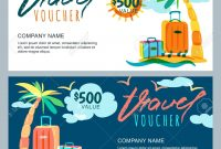 Vector Gift Travel Voucher Template Tropical Island Landscape pertaining to Free Travel Gift Certificate Template