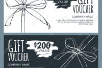 Vector Gift Voucher Template With Hand Drawn Outline Bow Ribbons with Black And White Gift Certificate Template Free