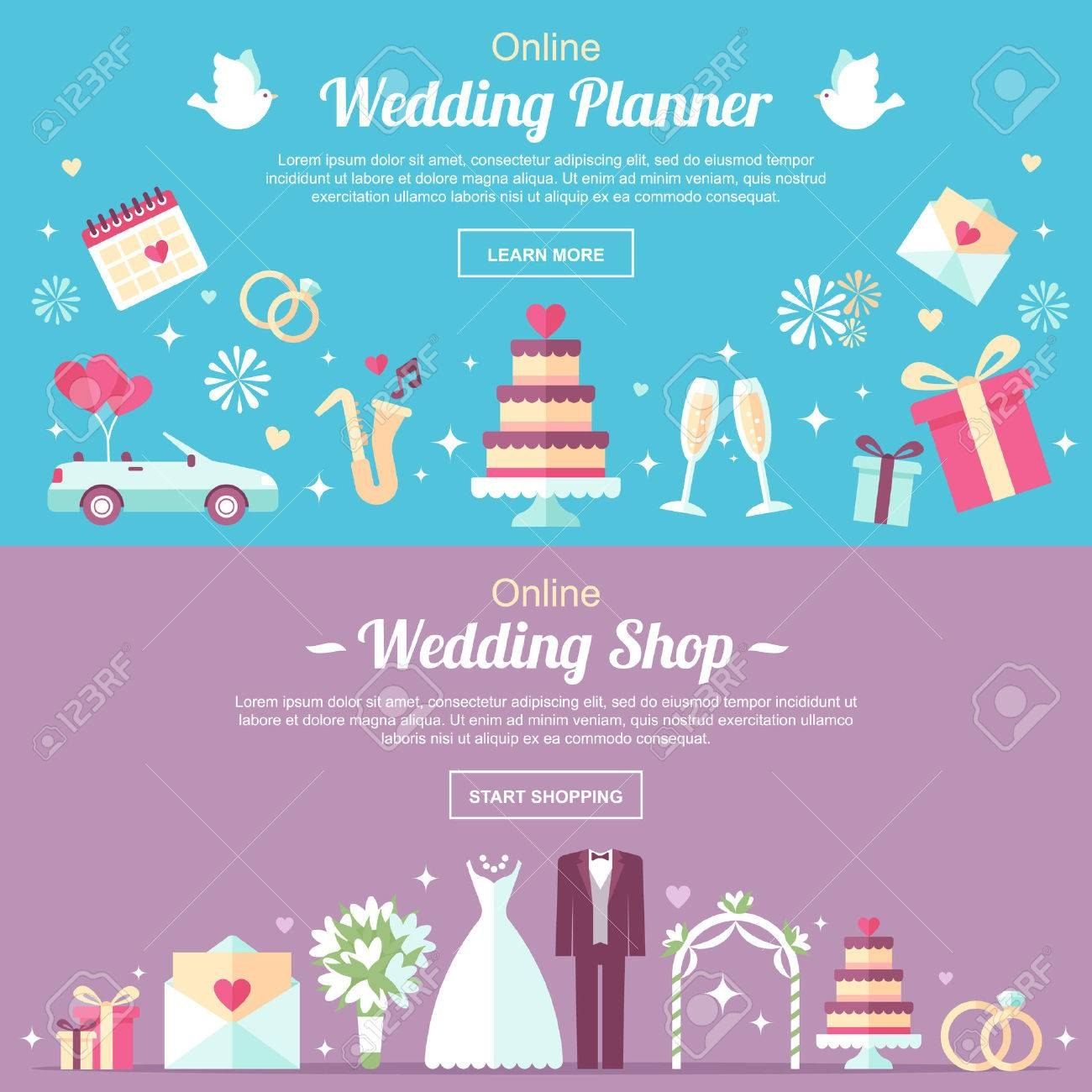 Vector Header And Banner Design Templates For Online Wedding With Wedding Banner Design Templates