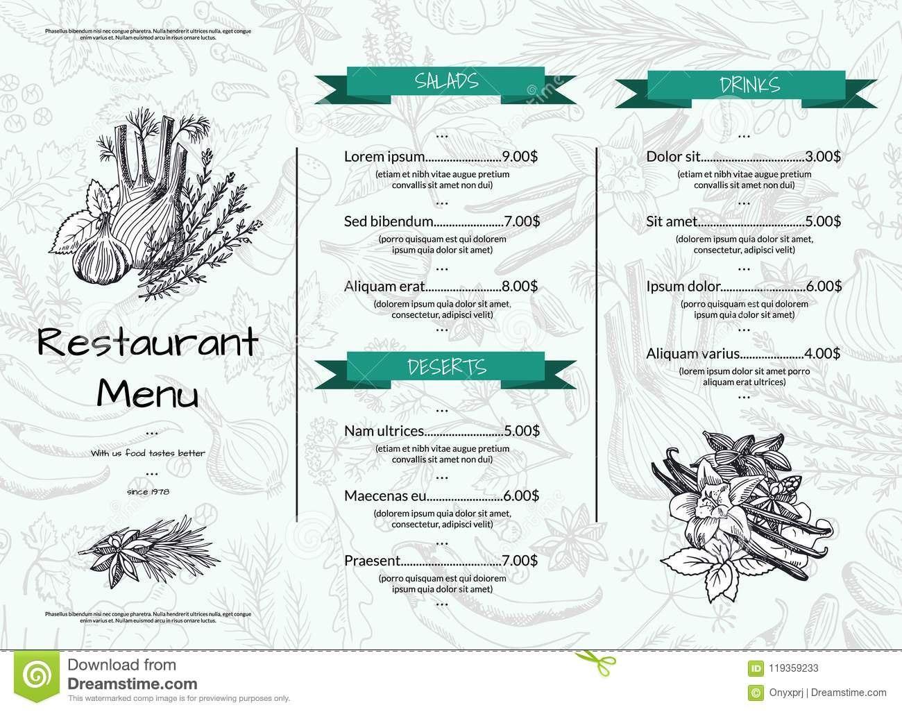 Vector Horizontal Restaurant Or Cafe Menu Template With Hand Drawn For Horizontal Menu Templates Free Download