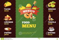 Vector Illustration Of Background Restaurant Menu Template With inside Mexican Menu Template Free Download
