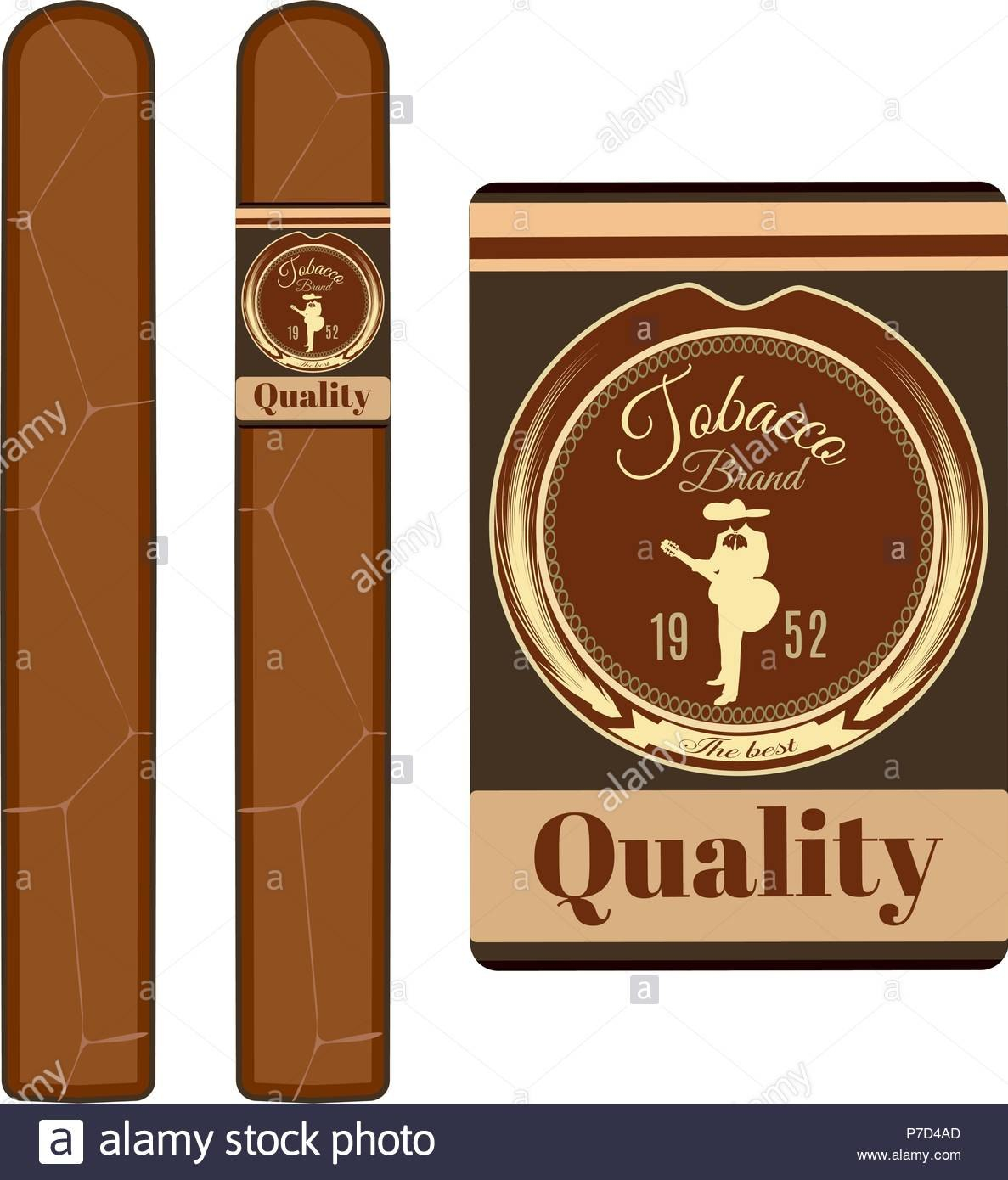 Vector Illustration Of Cuban Cigars With Label Without It And Cigar Pertaining To Cigar Label Template