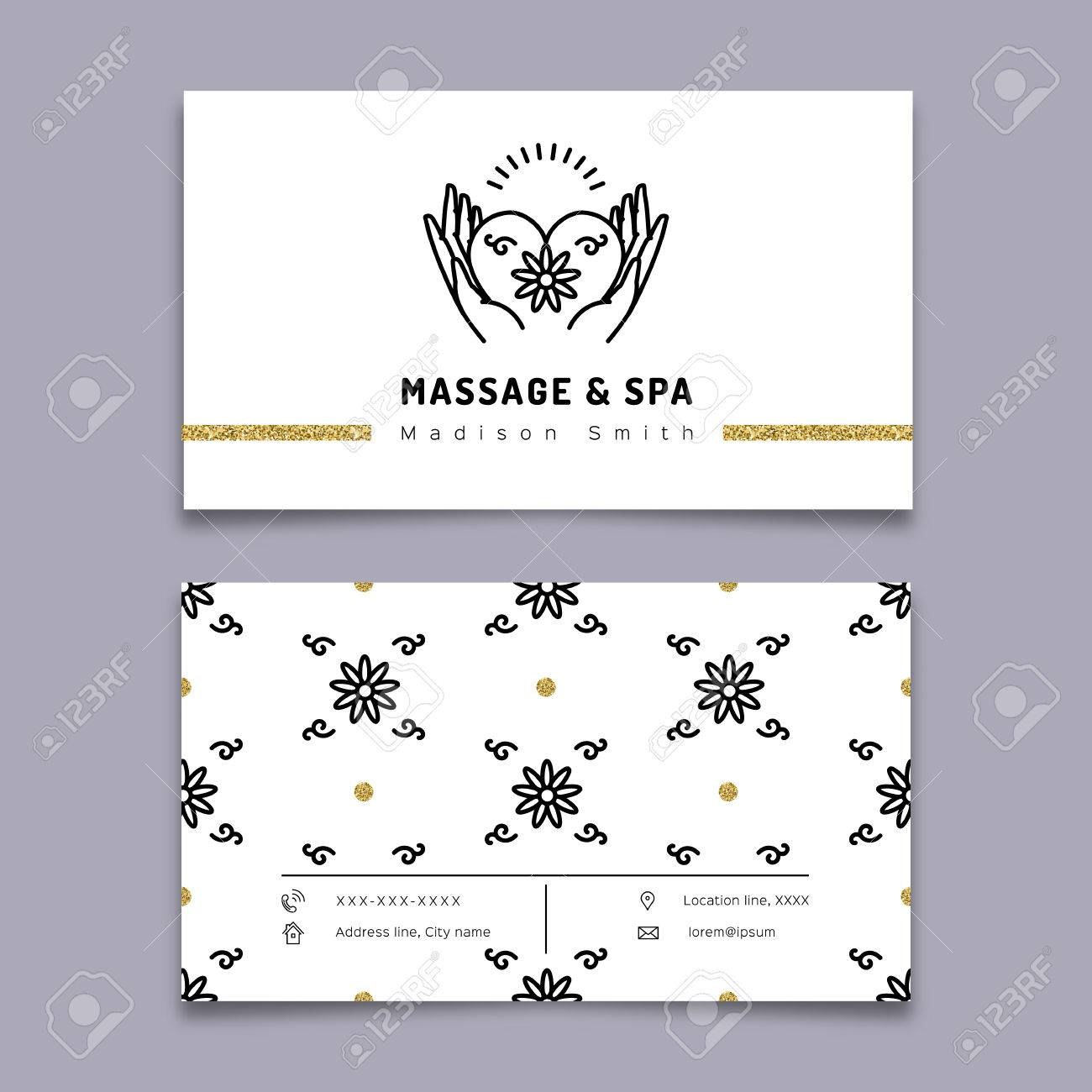 Vector Massage And Spa Therapy Business Card Template Trendy Intended For Massage Therapy Business Card Templates