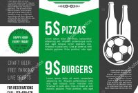 Vector Menu Poster For Soccer Bar Or Football Pub — Stock Vector pertaining to Football Menu Templates