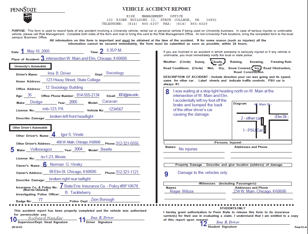 Vehicle Accident Report Form Instructions Throughout Vehicle Accident Report Template