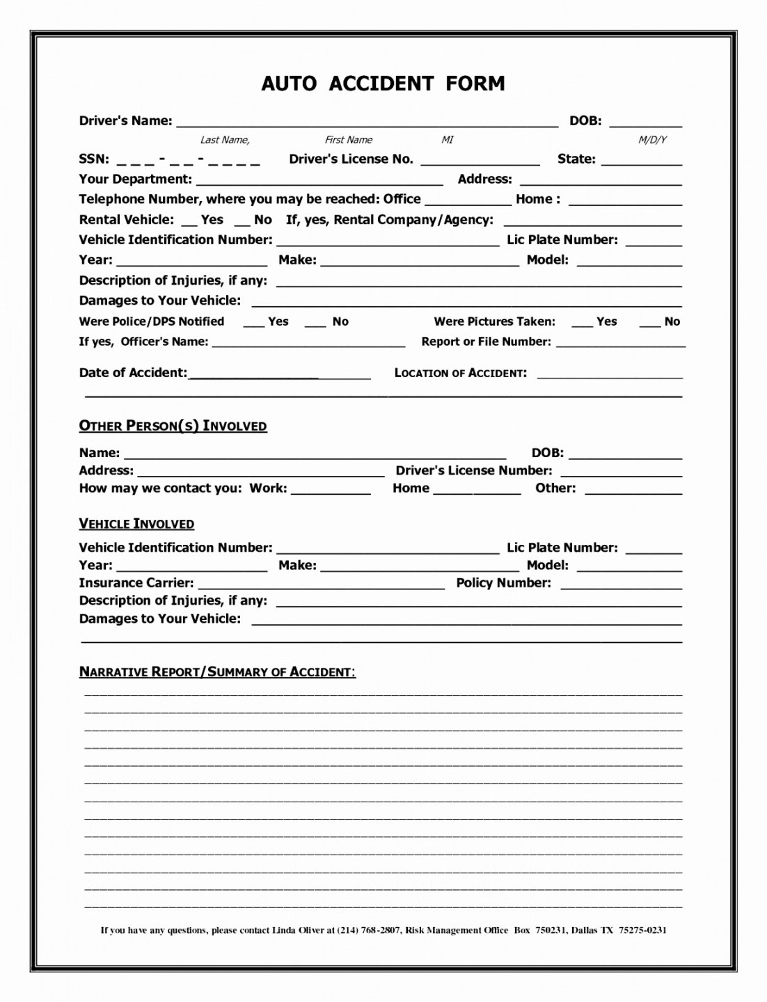 Vehicle Accident Report Form Template  Beconchina Inside Accident Report Form Template Uk