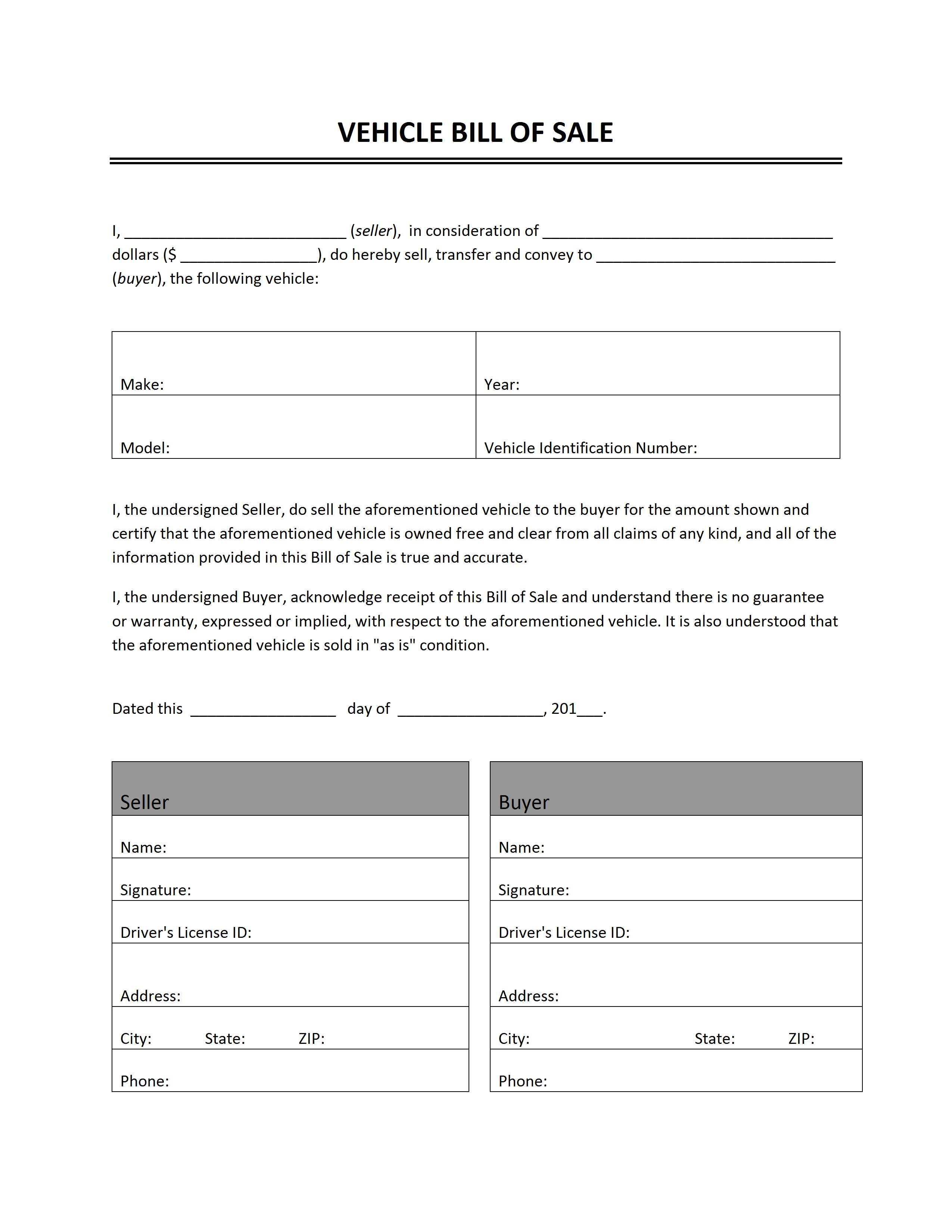 Vehicle Bill Of Sale Pertaining To Vehicle Bill Of Sale Template Word