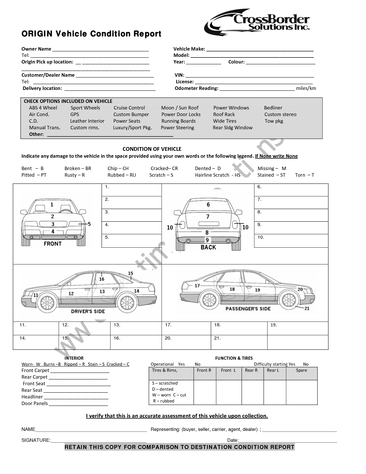 Vehicle Condition Report Templates  Word Excel Samples With Regard To Car Damage Report Template