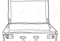 Vintage Luggage  Suitcases Travel Open Is Empty Cute Lineart throughout Blank Suitcase Template