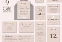 Vintage Minimal Wedding Invitation Card Collection Set Template pertaining to Wedding Card Size Template