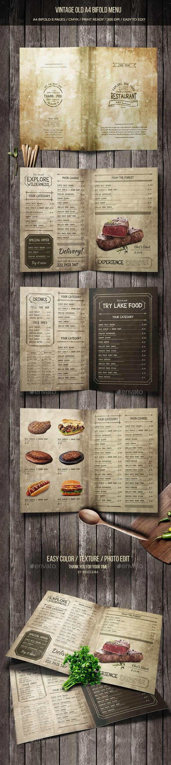 Vintage Old A Bifold Menu  Pages — Psd Template Drinks Menu Inside Menu Template For Pages