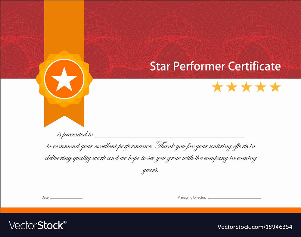 Vintage Red And Gold Star Performer Certificate Vector Image Regarding Star Performer Certificate Templates