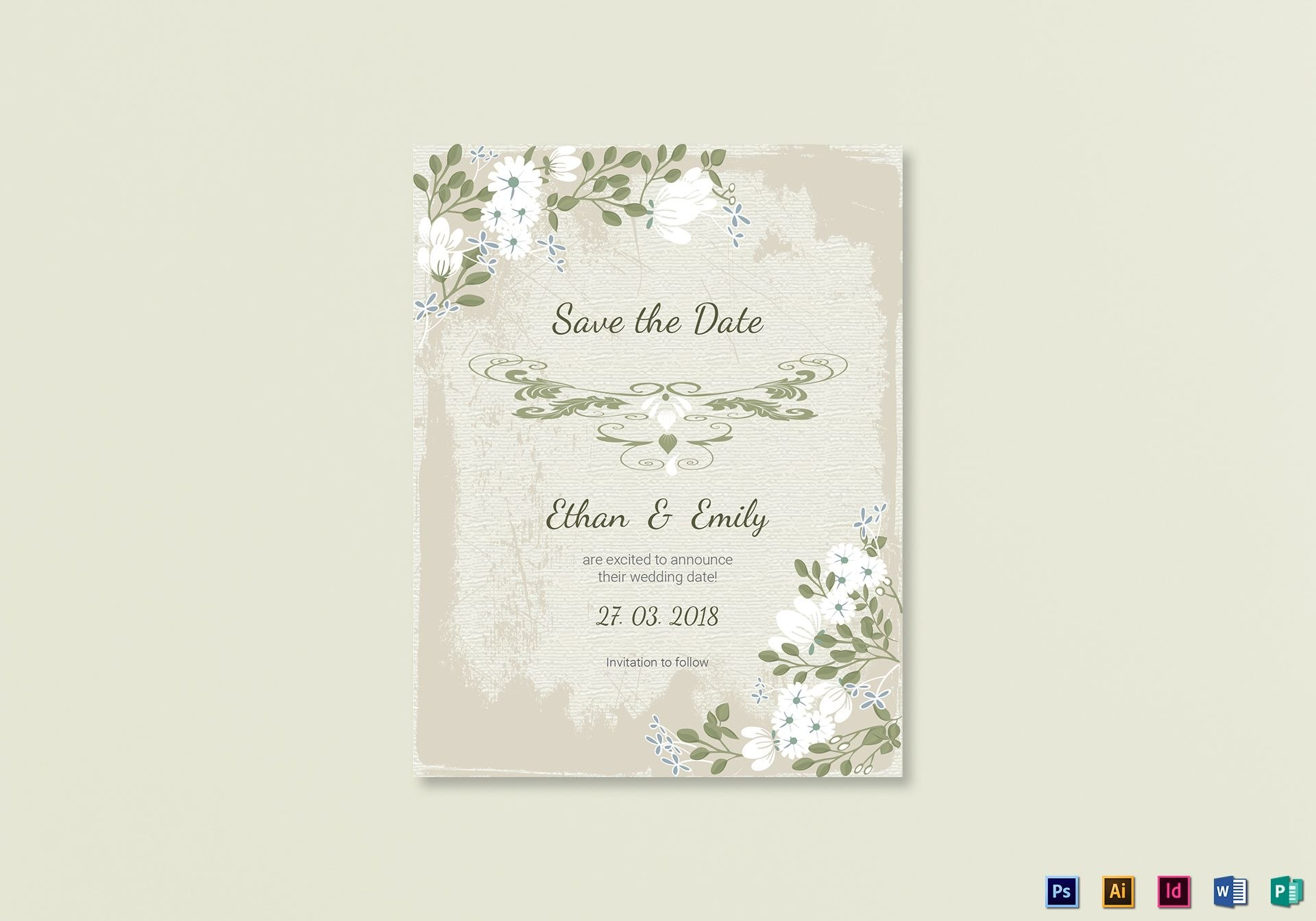 Vintage Save The Date Card Template In Psd Word Publisher Throughout Save The Date Cards Templates