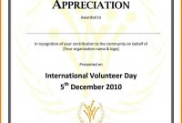 Volunteer Appreciation Certificate Templatecertification Of throughout Volunteer Certificate Template