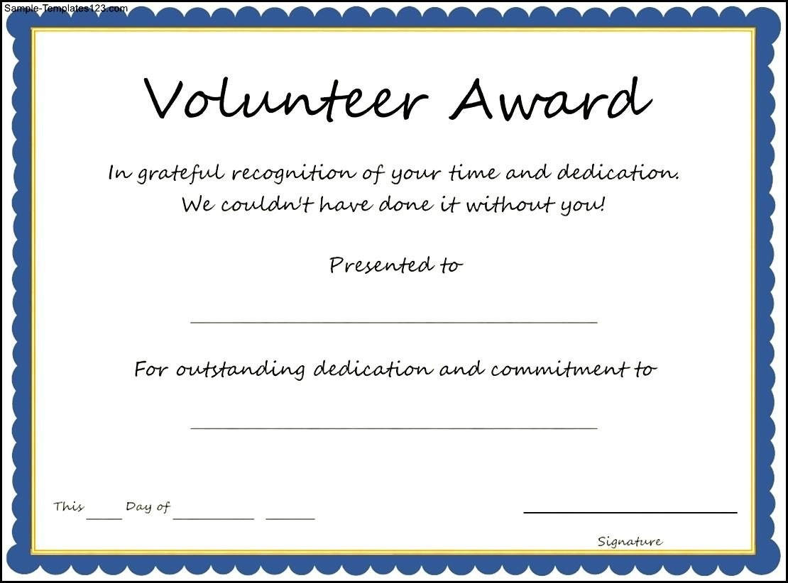 Volunteer Certificate Template  Free Download  Dtemplates Regarding Volunteer Of The Year Certificate Template