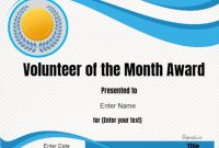 Volunteer Of The Month Certificate Template  Conie In for Volunteer Award Certificate Template