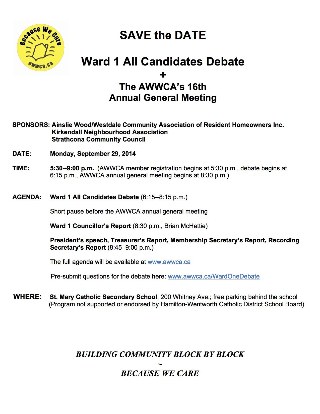 Ward  All Candidates Debate  The Awwca's Th Annual General Throughout Treasurer's Report Agm Template