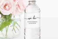 Water Bottle Label Template Diy Wedding Label Modern Calligraphy in Diy Water Bottle Label Template