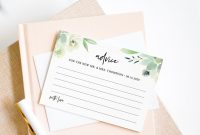Wedding Advice Card Template Bridal Shower Advice Succulent within Marriage Advice Cards Templates