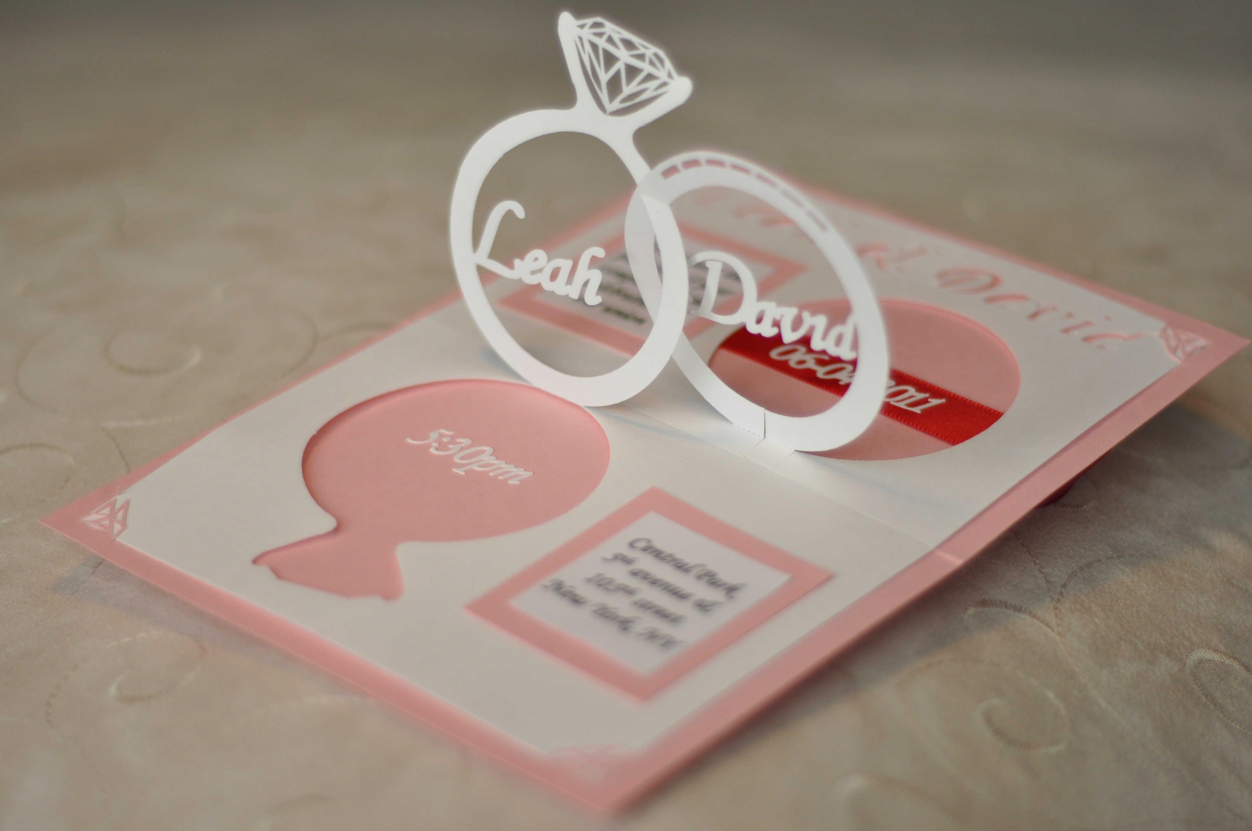 Wedding Invitation Linked Rings Pop Up Card Template  Creative Pop Regarding Wedding Pop Up Card Template Free