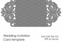 Wedding Invitation Pattern Card Template Lace Folds Studio  Etsy inside Silhouette Cameo Card Templates