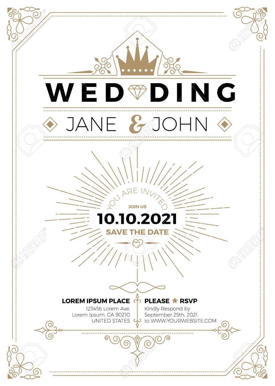 Wedding Invitation Sizes Vintage Wedding Invitation Card A Size Within Wedding Card Size Template