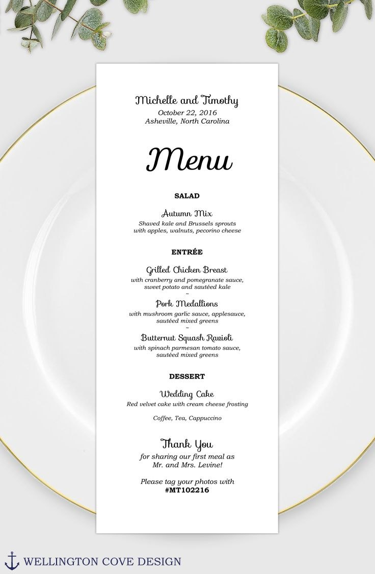Wedding Menu Template For Microsoft Word • Printable Instant Pertaining To Bridal Shower Menu Template