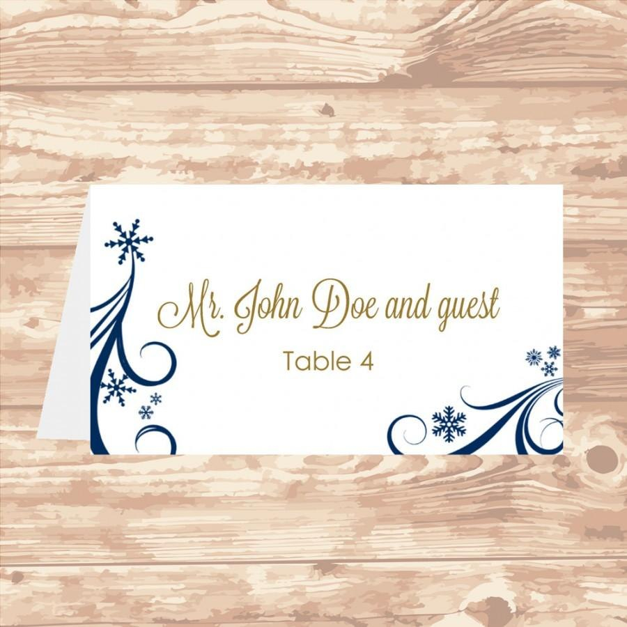 Wedding Place Card Diy Template Navy Swirling Snowflakes Editable Regarding Microsoft Word Place Card Template