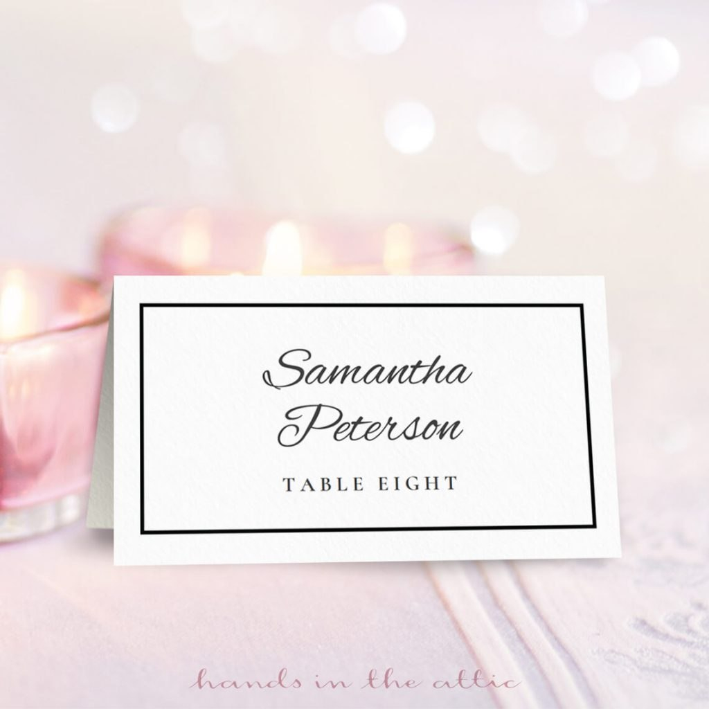 Wedding Place Card Template  Free Download  Hands In The Attic Regarding Printable Escort Cards Template