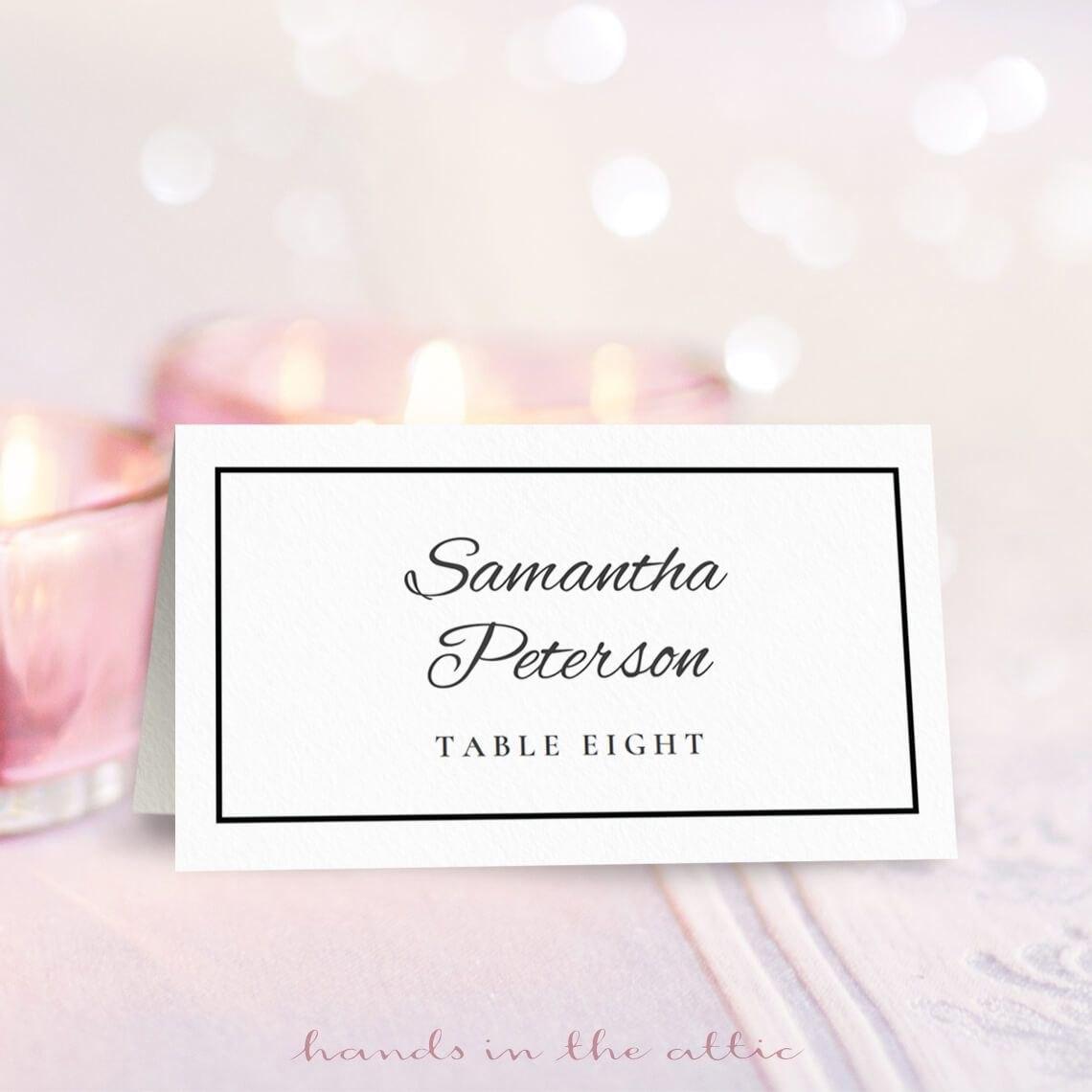 Wedding Place Card Template  Free On Handsintheattic  Free Regarding Amscan Imprintable Place Card Template