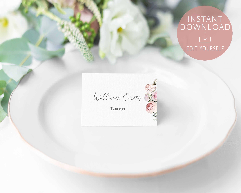 Wedding Place Cards Printable Editable Name Card Template Romantic Regarding Table Name Card Template