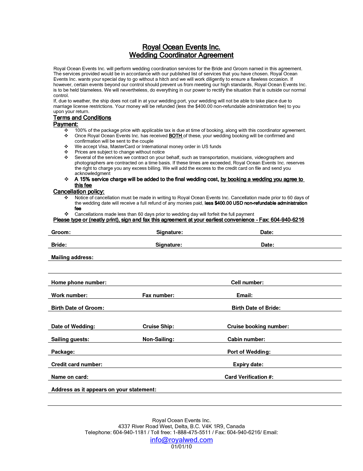 Wedding Planner Contract Sample Templates  Life Hacks  Event In Wedding Photography Terms And Conditions Template