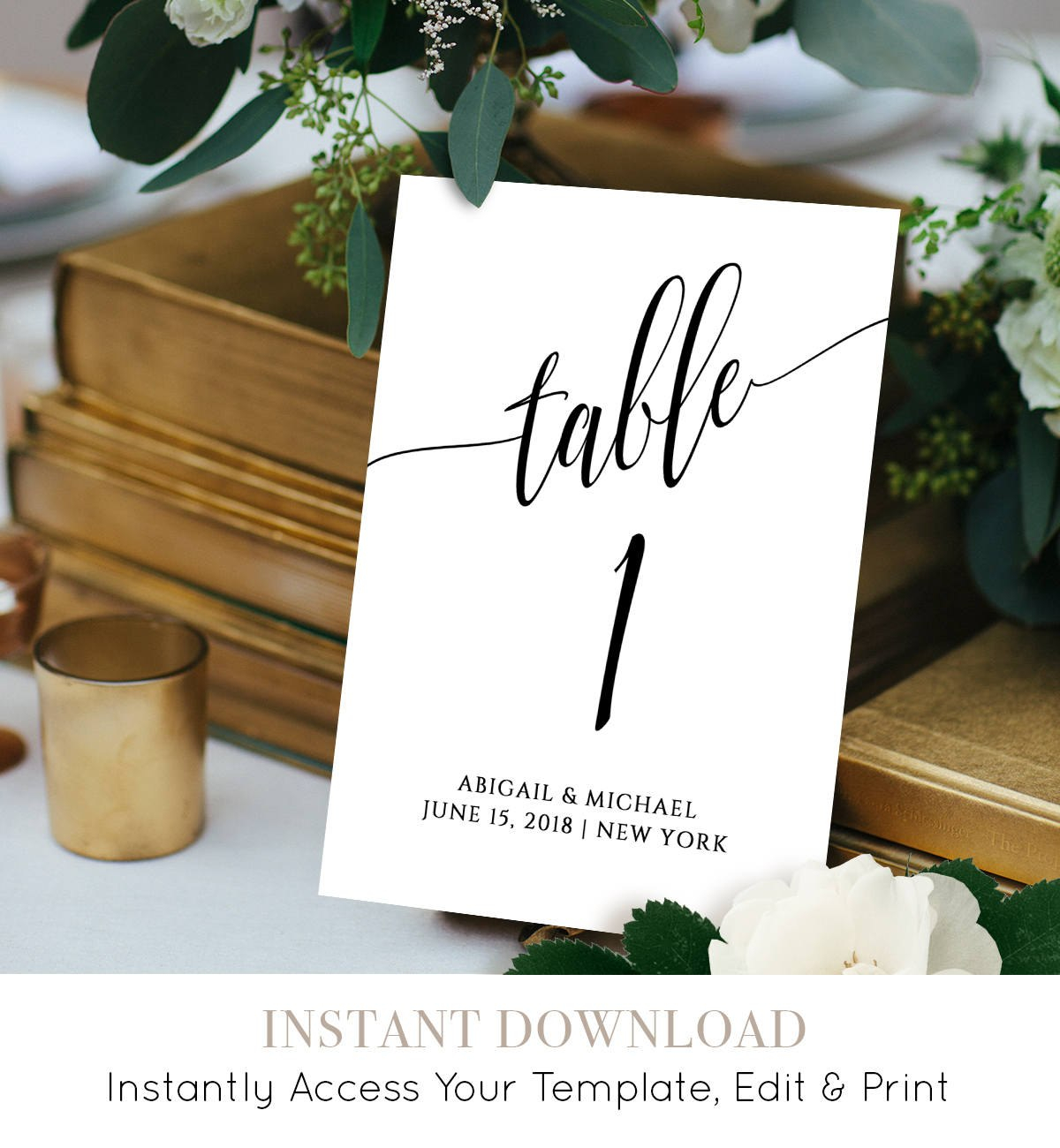 Wedding Table Number Card Template Calligraphy Editable Regarding Table Number Cards Template