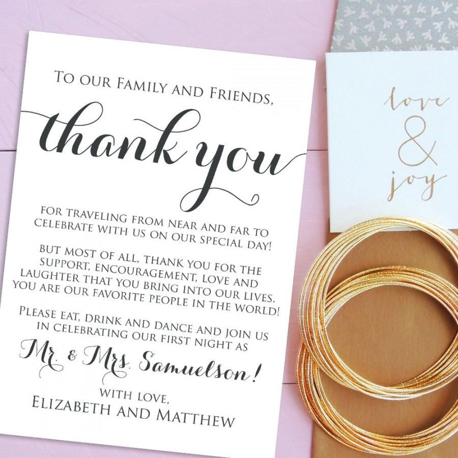 Wedding Thank You Cards Welcome Letter Printable Wedding Welcome With Regard To Template For Wedding Thank You Cards