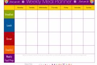 Weekly Food Chart Template  Meal Schedule Template Planner Templat throughout Menu Chart Template
